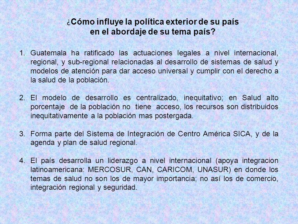 ¿ Cómo influye la política exterior de su país en el abordaje de su tema país? 1.Guatemala ha ratificado las actuaciones legales a nivel internacional