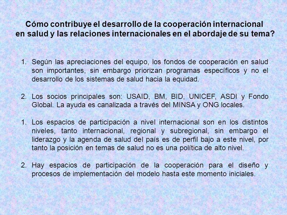 Cómo contribuye el desarrollo de la cooperación internacional en salud y las relaciones internacionales en el abordaje de su tema? 1.Según las aprecia