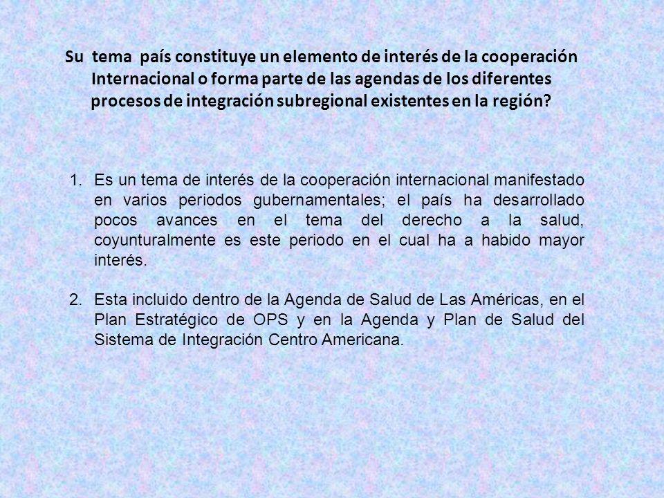 Su tema país constituye un elemento de interés de la cooperación Internacional o forma parte de las agendas de los diferentes procesos de integración