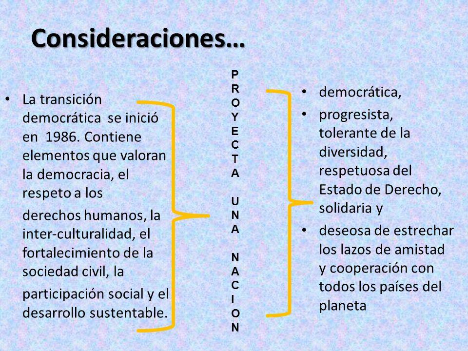 Consideraciones… La transición democrática se inició en 1986. Contiene elementos que valoran la democracia, el respeto a los derechos humanos, la inte