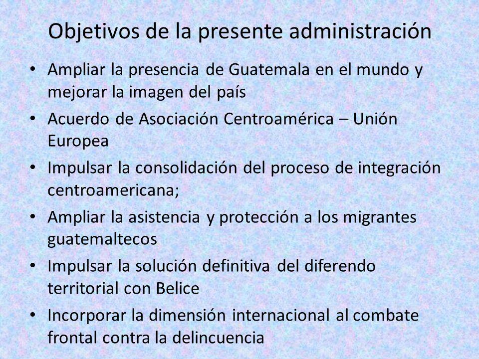 Objetivos de la presente administración Ampliar la presencia de Guatemala en el mundo y mejorar la imagen del país Acuerdo de Asociación Centroamérica