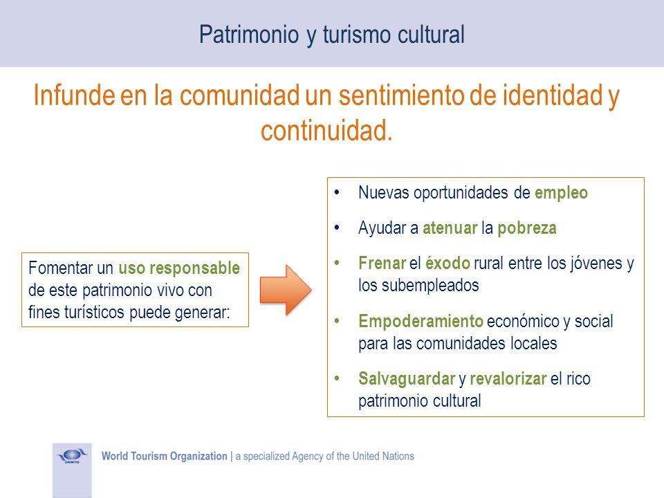 Patrimonio y turismo cultural Infunde en la comunidad un sentimiento de identidad y continuidad. Fomentar un uso responsable de este patrimonio vivo c