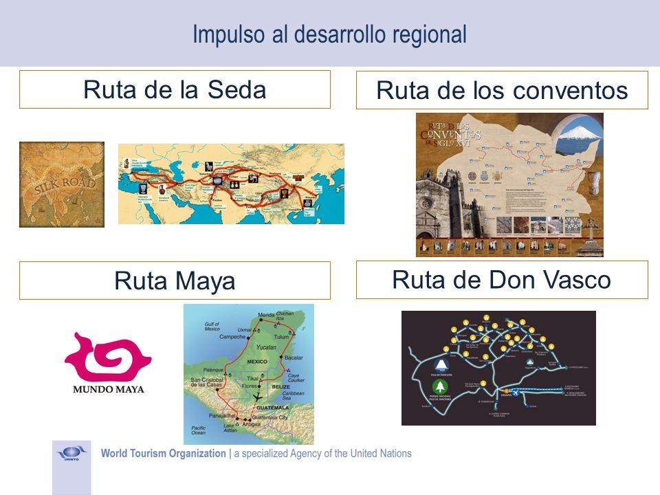 Impulso al desarrollo regional Ruta de la Seda Ruta Maya Ruta de los conventos Ruta de Don Vasco