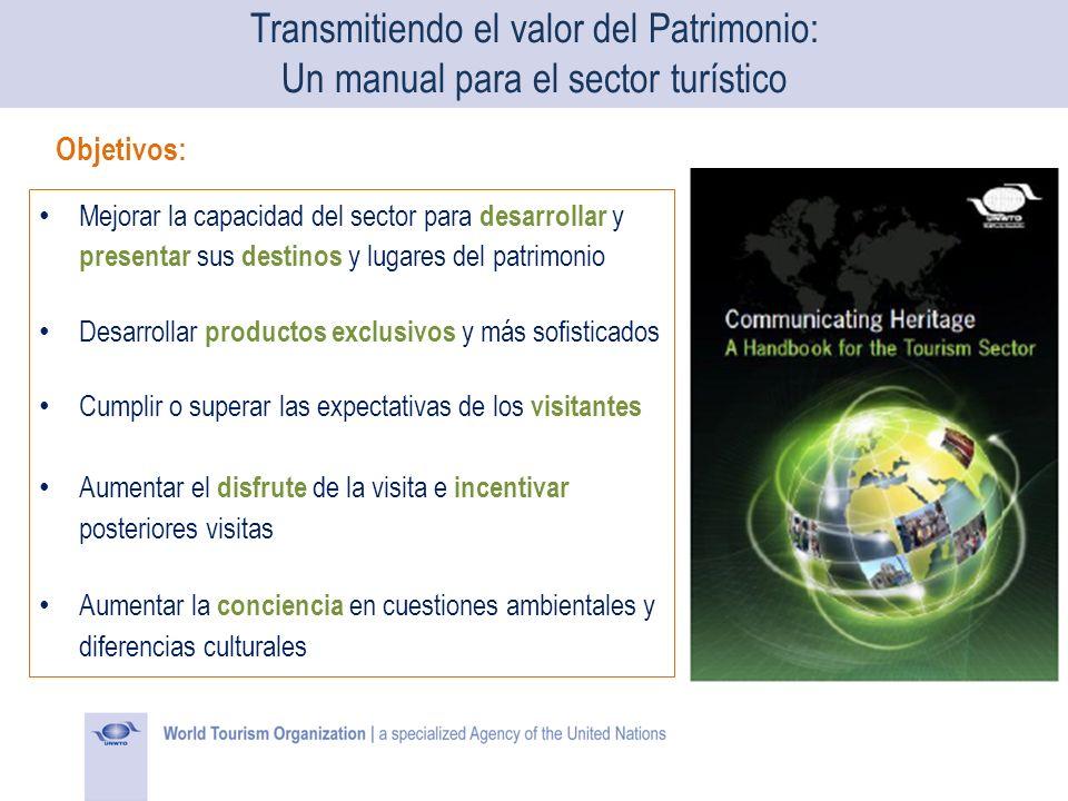 Objetivos: Mejorar la capacidad del sector para desarrollar y presentar sus destinos y lugares del patrimonio Desarrollar productos exclusivos y más s