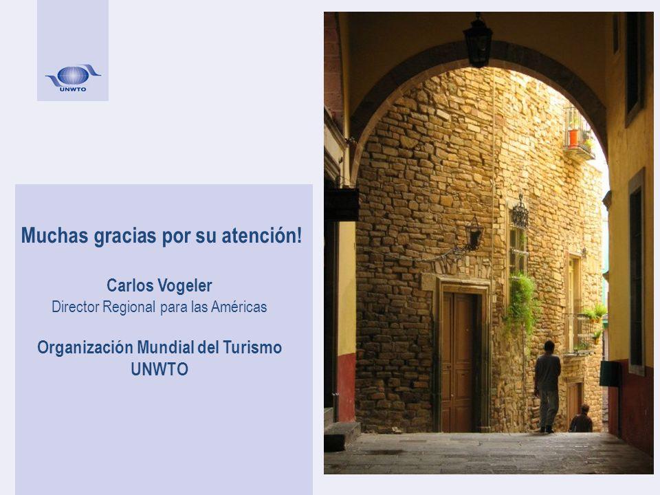 Muchas gracias por su atención! Carlos Vogeler Director Regional para las Américas Organización Mundial del Turismo UNWTO