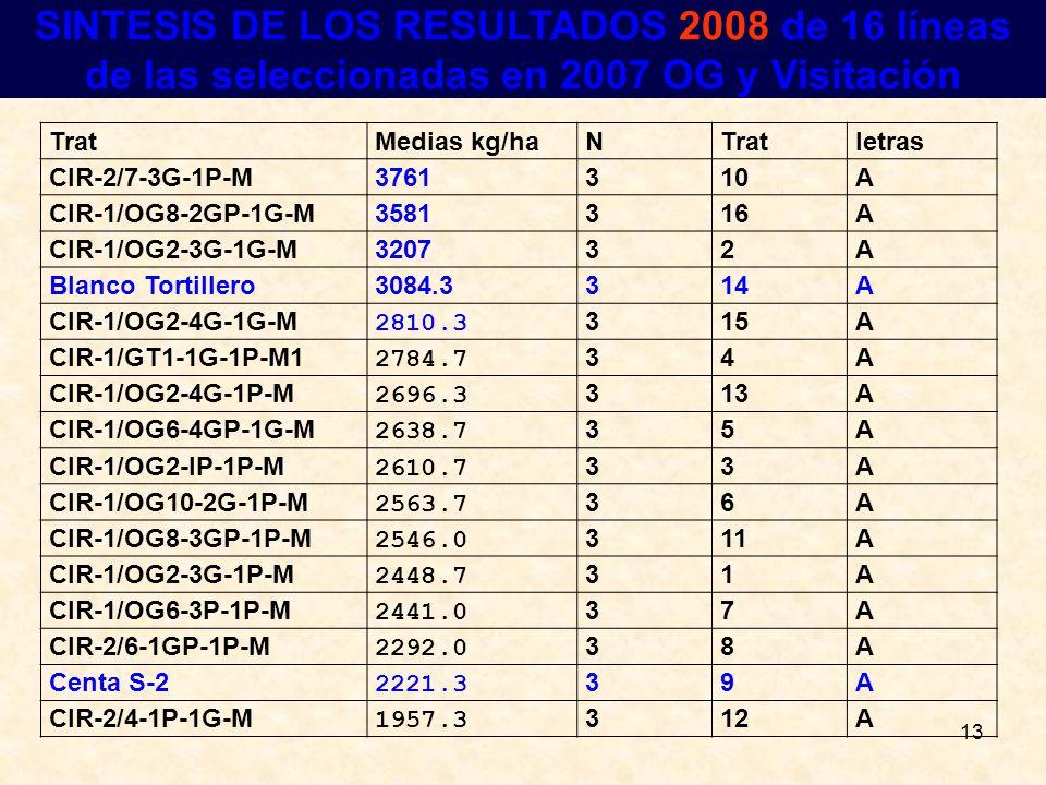 13 RESULTADOS SINTESIS DE LOS RESULTADOS 2008 de 16 líneas de las seleccionadas en 2007 OG y Visitación TratMedias kg/haNTratletras CIR-2/7-3G-1P-M376