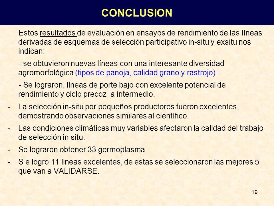 19 Estos resultados de evaluación en ensayos de rendimiento de las líneas derivadas de esquemas de selección participativo in-situ y exsitu nos indica