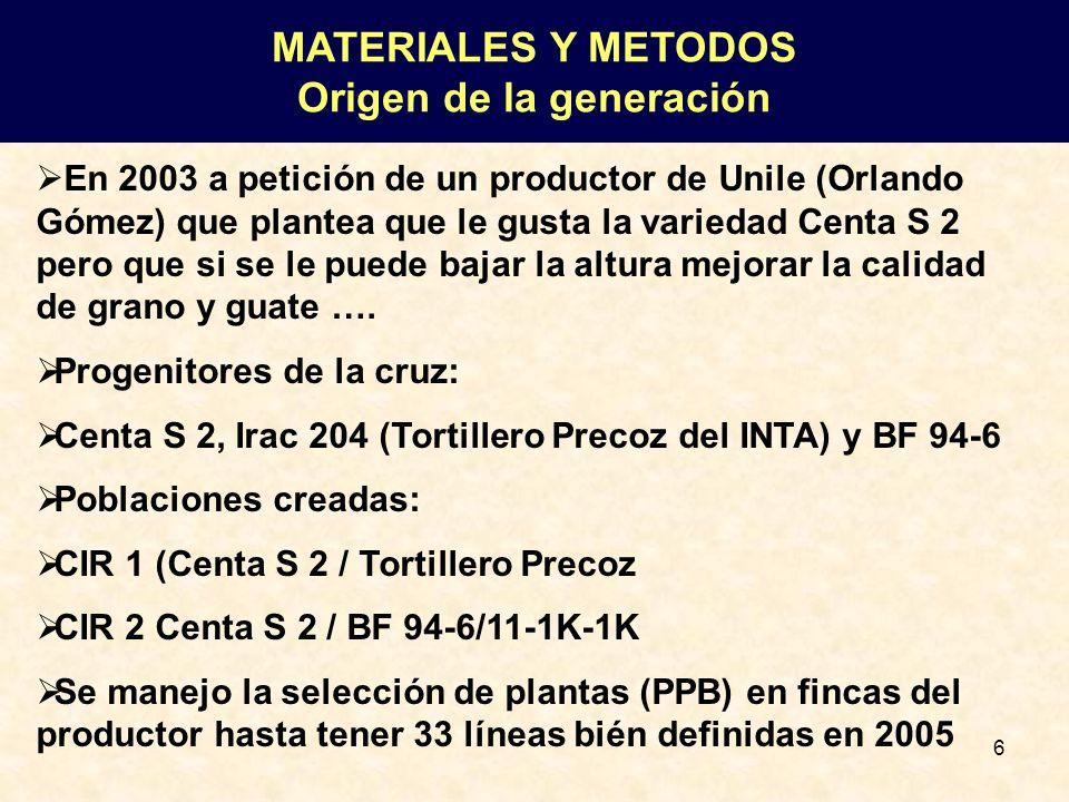 6 En 2003 a petición de un productor de Unile (Orlando Gómez) que plantea que le gusta la variedad Centa S 2 pero que si se le puede bajar la altura m