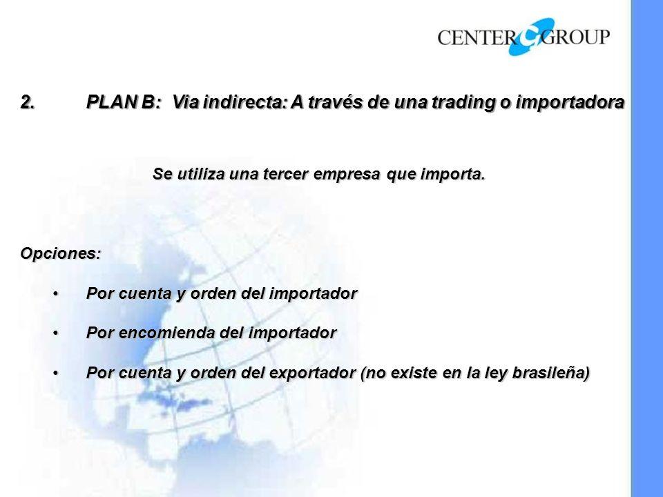 2.PLAN B: Via indirecta: A través de una trading o importadora Se utiliza una tercer empresa que importa.