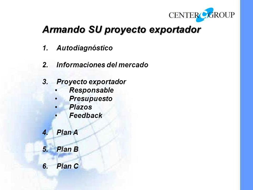 Armando SU proyecto exportador 1.Autodiagnóstico 2.Informaciones del mercado 3.Proyecto exportador Responsable Presupuesto Plazos Feedback 4.Plan A 5.Plan B 6.Plan C