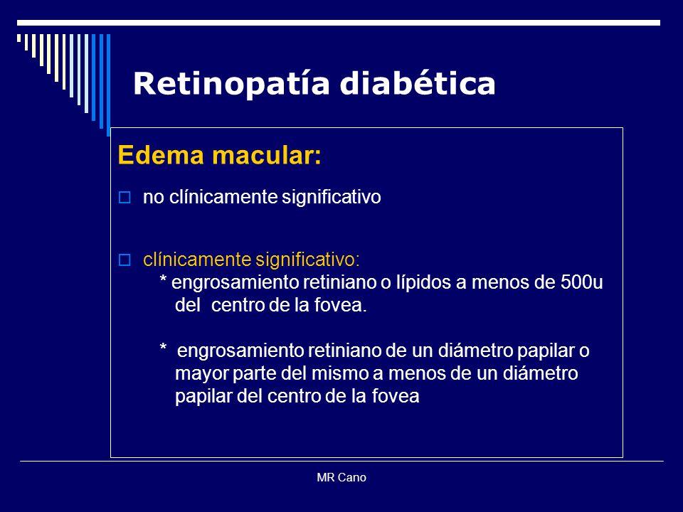 MR Cano Retinopatía diabética Edema macular: no clínicamente significativo clínicamente significativo: * engrosamiento retiniano o lípidos a menos de