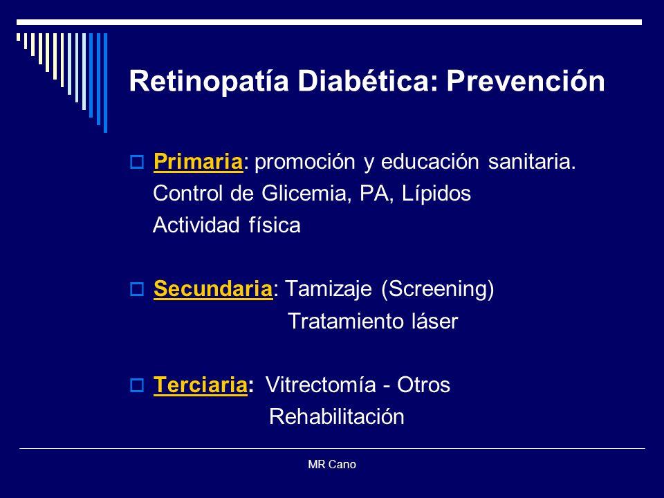 MR Cano Retinopatía Diabética: Prevención Primaria: promoción y educación sanitaria. Control de Glicemia, PA, Lípidos Actividad física Secundaria: Tam