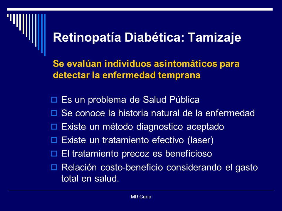 MR Cano Retinopatía Diabética: Tamizaje Se evalúan individuos asintomáticos para detectar la enfermedad temprana Es un problema de Salud Pública Se co