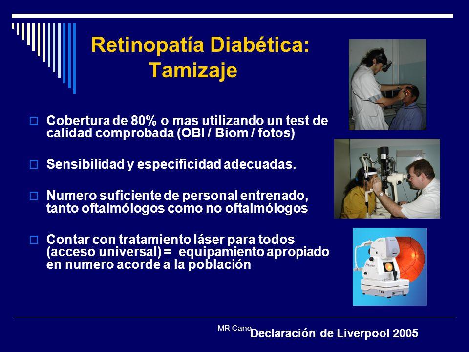MR Cano Retinopatía Diabética: Tamizaje Cobertura de 80% o mas utilizando un test de calidad comprobada (OBI / Biom / fotos) Sensibilidad y especifici