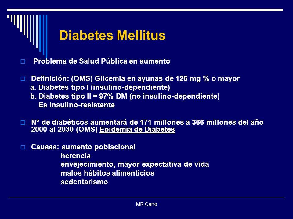MR Cano Diabetes Mellitus Problema de Salud Pública en aumento Definición: (OMS) Glicemia en ayunas de 126 mg % o mayor a. Diabetes tipo I (insulino-d