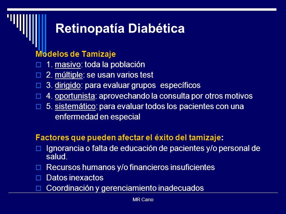 MR Cano Retinopatía Diabética Modelos de Tamizaje 1. masivo: toda la población 2. múltiple: se usan varios test 3. dirigido: para evaluar grupos espec