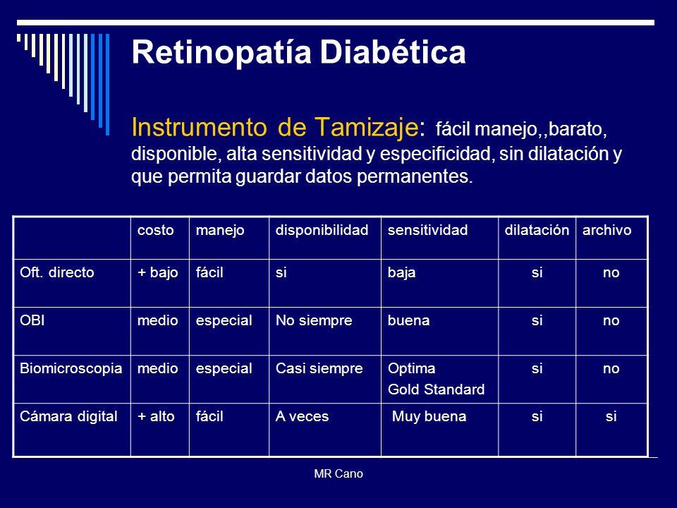 MR Cano Retinopatía Diabética Instrumento de Tamizaje: fácil manejo,,barato, disponible, alta sensitividad y especificidad, sin dilatación y que permi