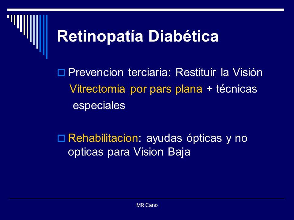 MR Cano Retinopatía Diabética Prevencion terciaria: Restituir la Visión Vitrectomia por pars plana + técnicas especiales Rehabilitacion: ayudas óptica