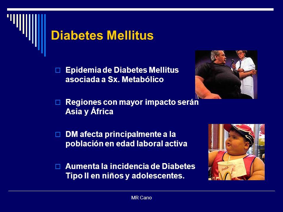 MR Cano Epidemia de Diabetes Mellitus asociada a Sx. Metabólico Regiones con mayor impacto serán Asia y África DM afecta principalmente a la población