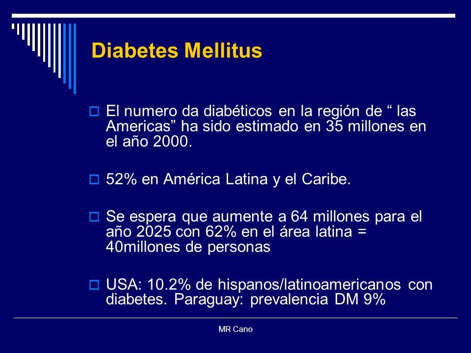 MR Cano Diabetes Mellitus El numero da diabéticos en la región de las Americas ha sido estimado en 35 millones en el año 2000. 52% en América Latina y