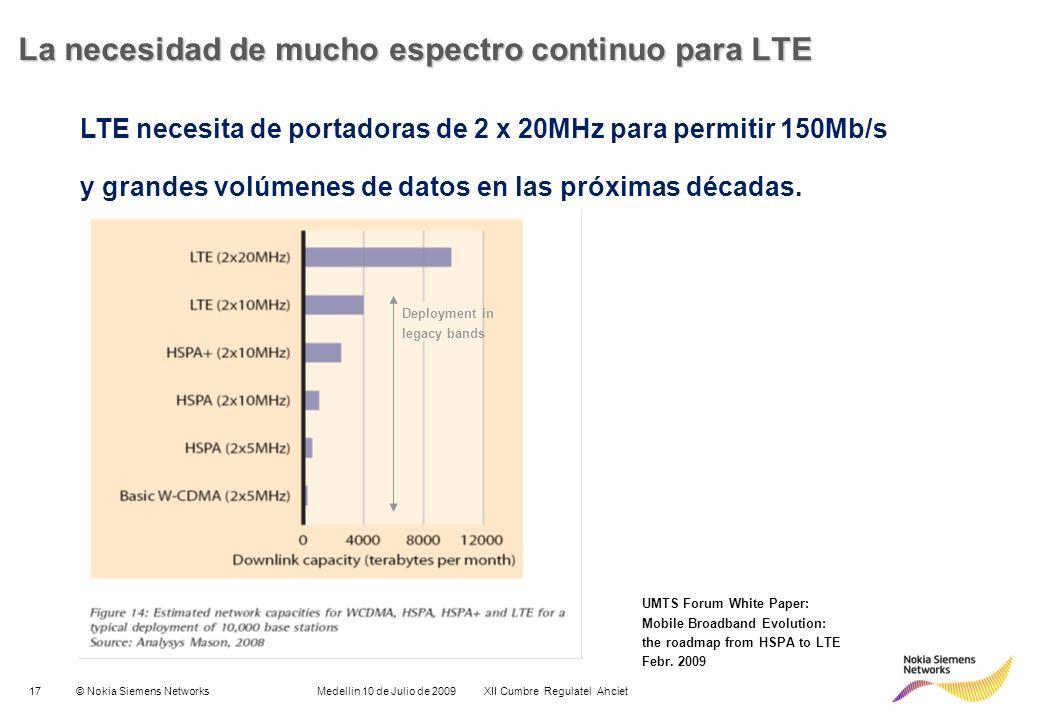 17© Nokia Siemens Networks Medellin 10 de Julio de 2009 XII Cumbre Regulatel Ahciet LTE necesita de portadoras de 2 x 20MHz para permitir 150Mb/s y gr