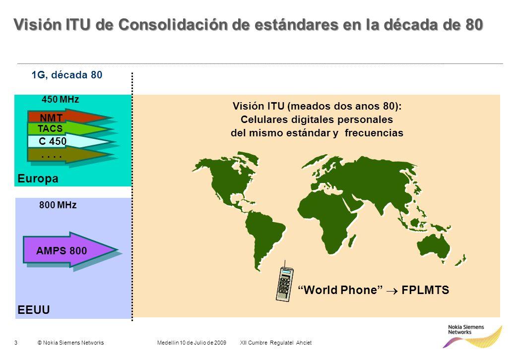 3© Nokia Siemens Networks Medellin 10 de Julio de 2009 XII Cumbre Regulatel Ahciet Europa NMT EEUU AMPS 800 TACS C 450.. 450 MHz 800 MHz 1G, década 80