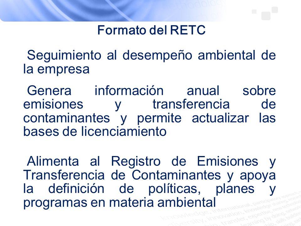 Seguimiento al desempeño ambiental de la empresa Genera información anual sobre emisiones y transferencia de contaminantes y permite actualizar las ba