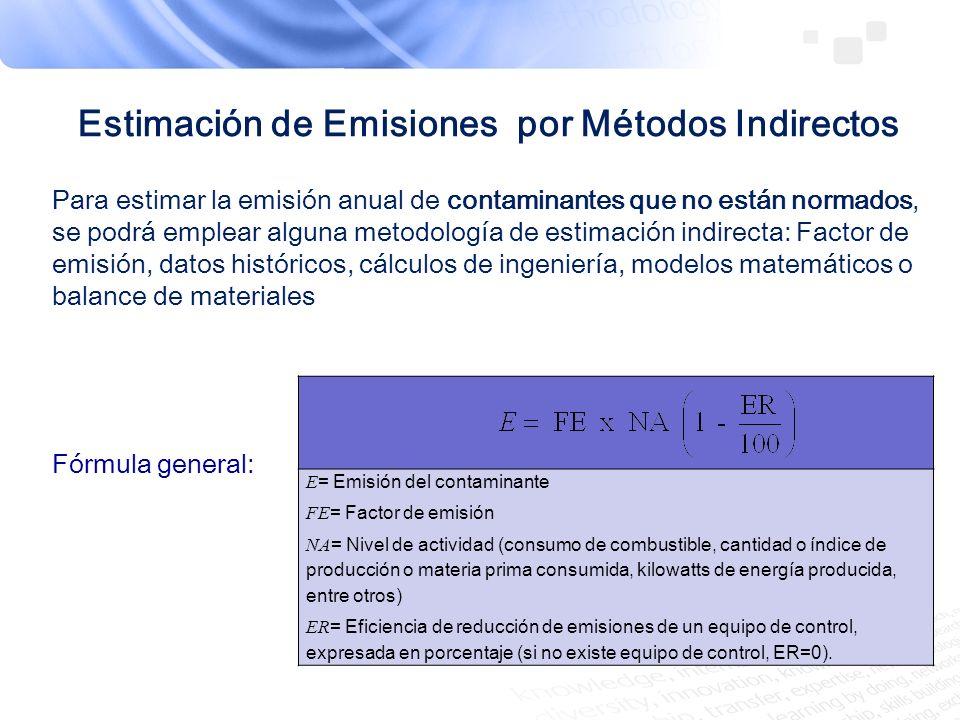 Estimación de Emisiones por Métodos Indirectos Para estimar la emisión anual de contaminantes que no están normados, se podrá emplear alguna metodolog