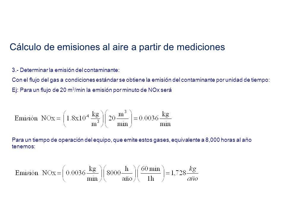 3.- Determinar la emisión del contaminante: Con el flujo del gas a condiciones estándar se obtiene la emisión del contaminante por unidad de tiempo: E