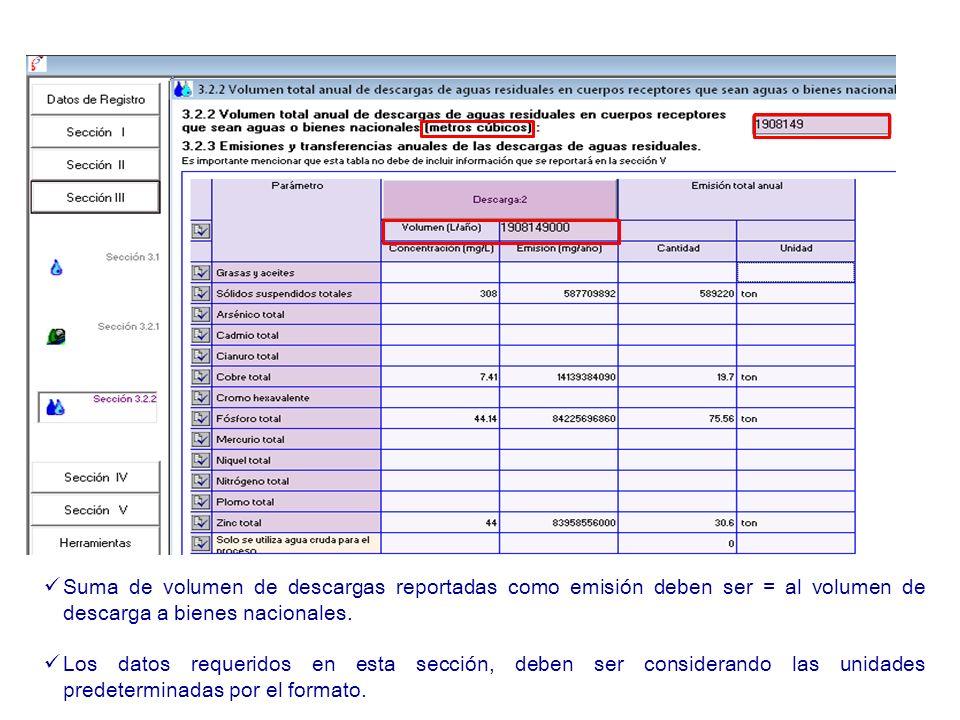 Suma de volumen de descargas reportadas como emisión deben ser = al volumen de descarga a bienes nacionales. Los datos requeridos en esta sección, deb