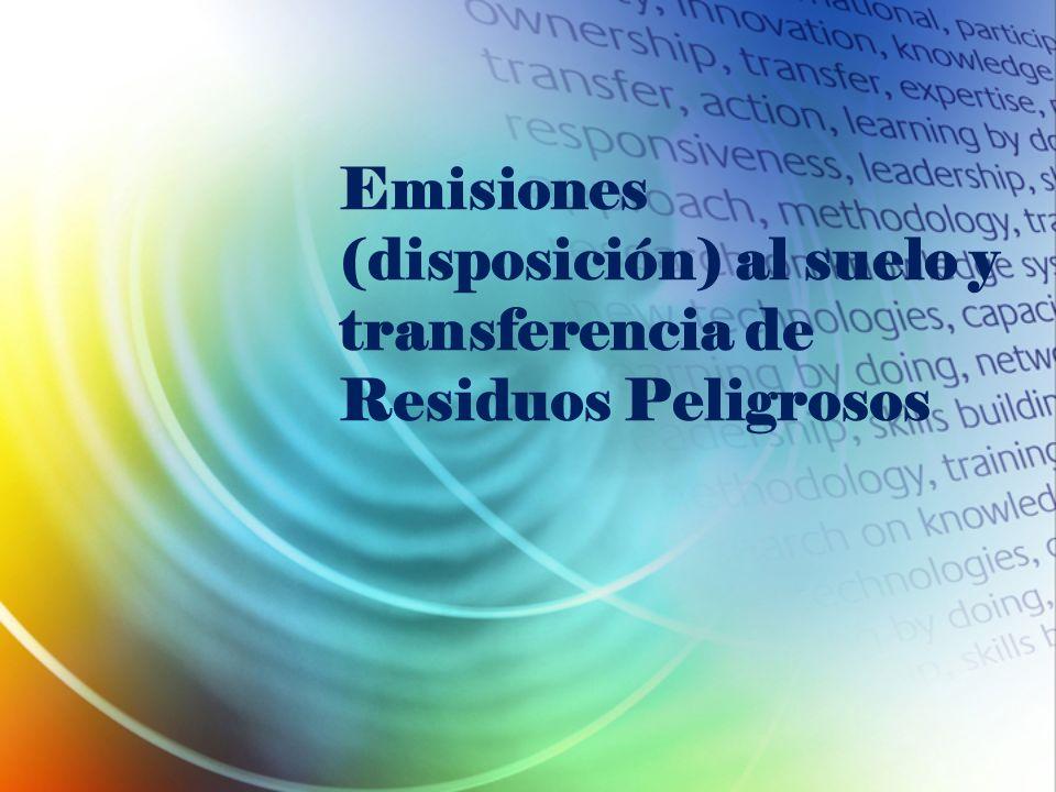 Emisiones (disposición) al suelo y transferencia de Residuos Peligrosos