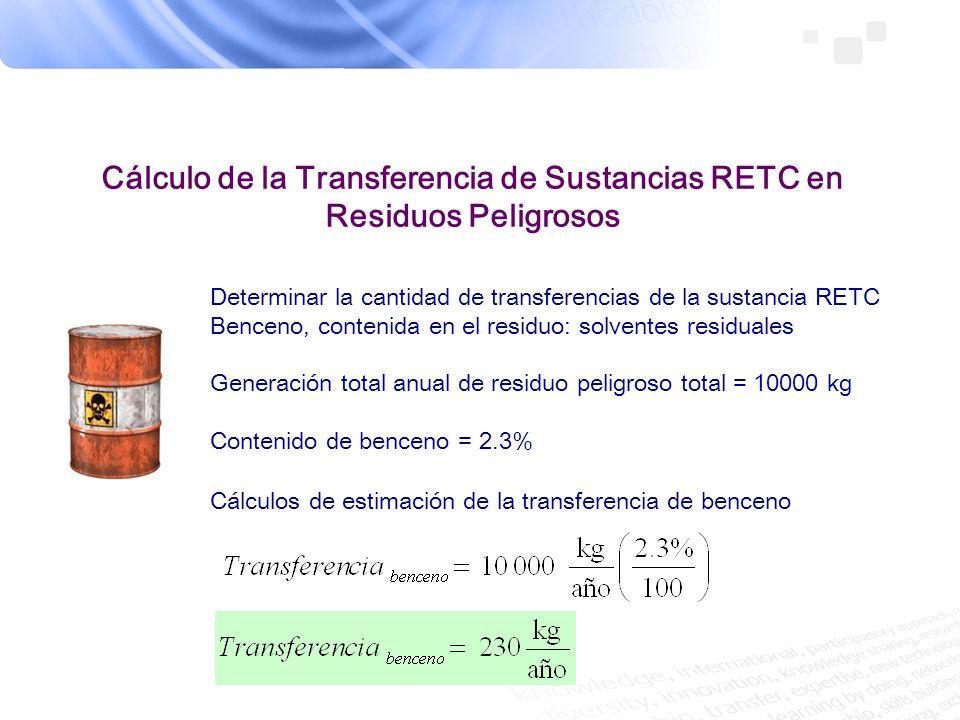 Cálculo de la Transferencia de Sustancias RETC en Residuos Peligrosos Determinar la cantidad de transferencias de la sustancia RETC Benceno, contenida