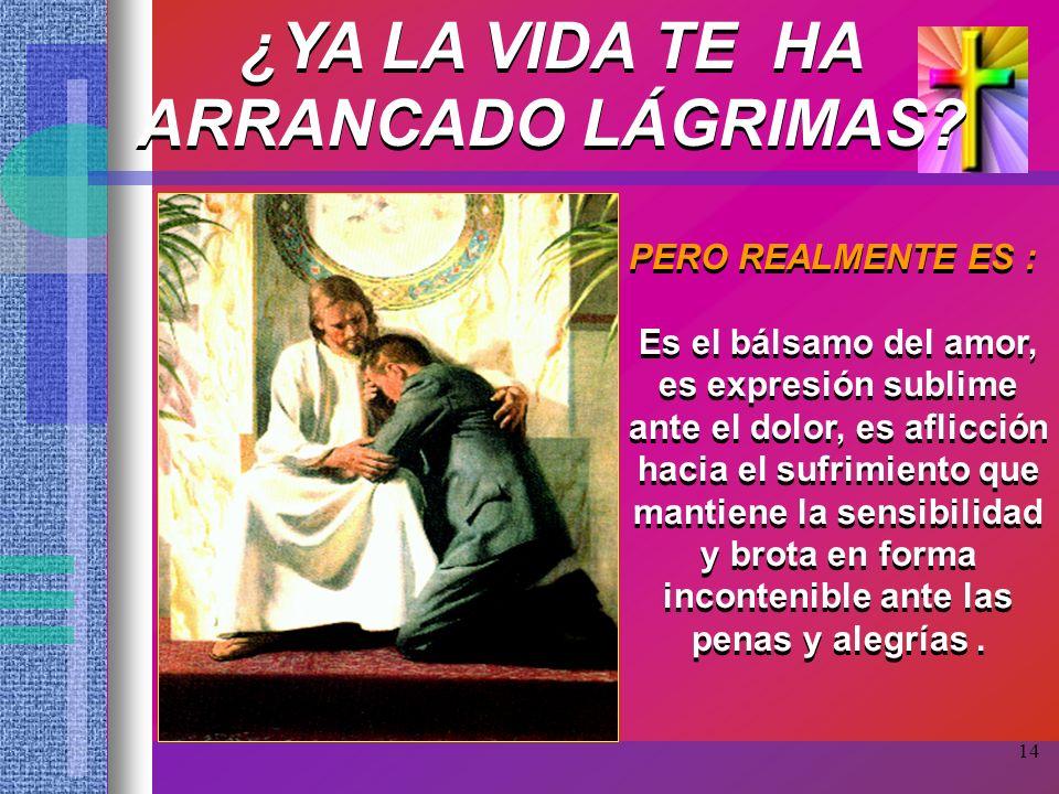 14 ¿YA LA VIDA TE HA ARRANCADO LÁGRIMAS? PERO REALMENTE ES : Es el bálsamo del amor, es expresión sublime ante el dolor, es aflicción hacia el sufrimi