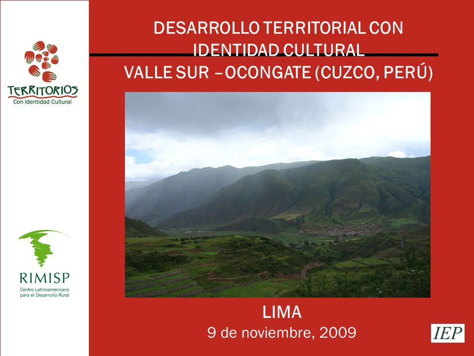 DESARROLLO TERRITORIAL CON IDENTIDAD CULTURAL VALLE SUR –OCONGATE (CUZCO, PERÚ) LIMA 9 de noviembre, 2009
