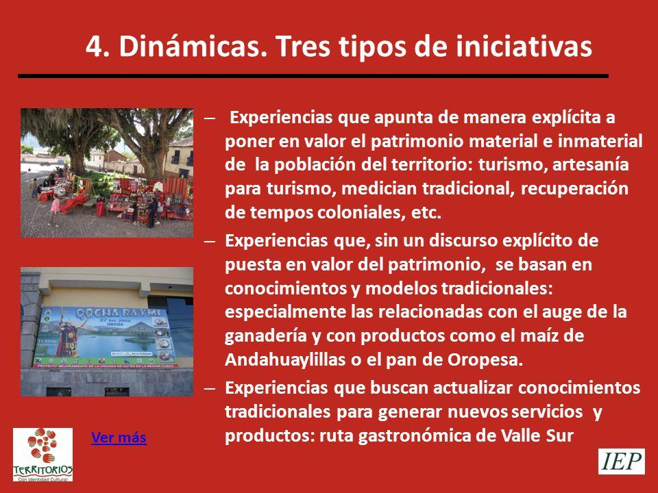 4. Dinámicas. Tres tipos de iniciativas – Experiencias que apunta de manera explícita a poner en valor el patrimonio material e inmaterial de la pobla