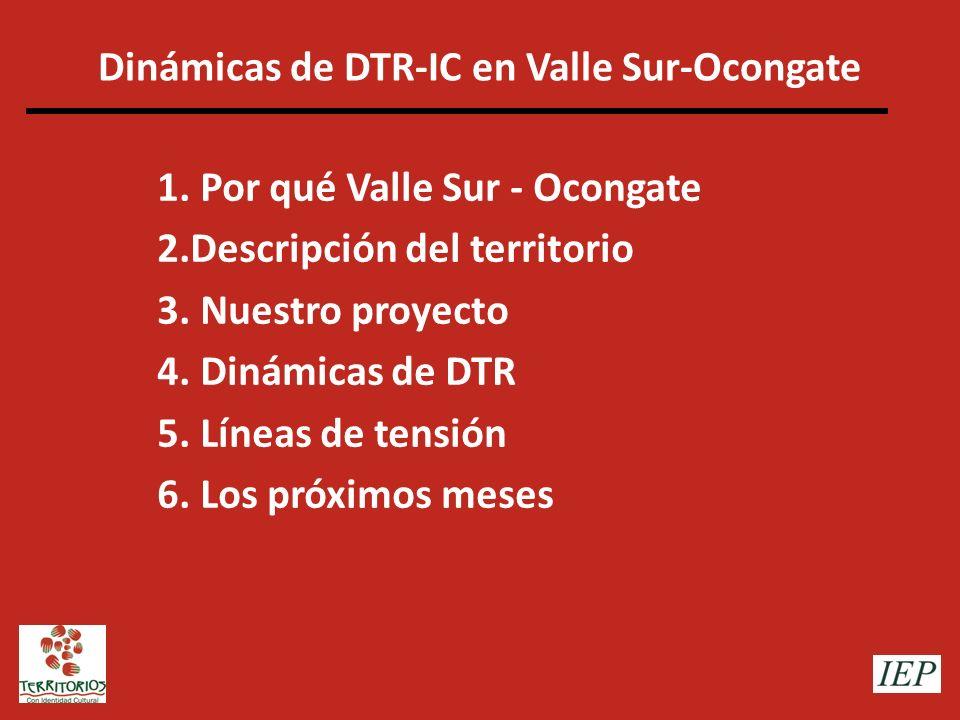 Dinámicas de DTR-IC en Valle Sur-Ocongate 1. Por qué Valle Sur - Ocongate 2.Descripción del territorio 3. Nuestro proyecto 4. Dinámicas de DTR 5. Líne