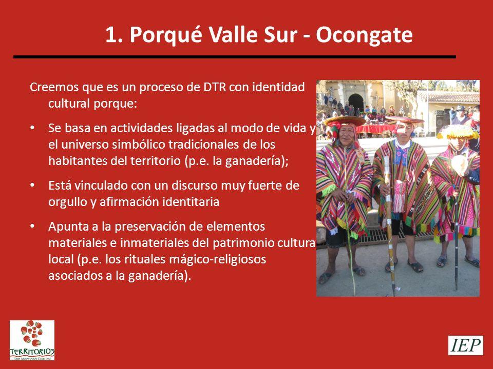 1. Porqué Valle Sur - Ocongate Creemos que es un proceso de DTR con identidad cultural porque: Se basa en actividades ligadas al modo de vida y el uni