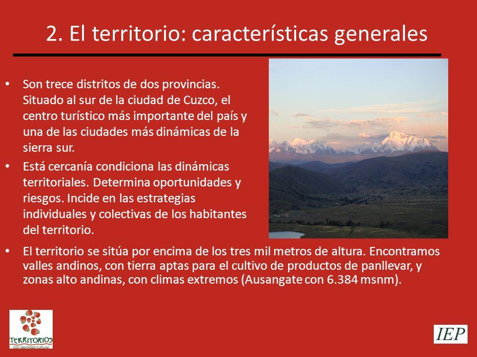 2. El territorio: características generales Son trece distritos de dos provincias. Situado al sur de la ciudad de Cuzco, el centro turístico más impor