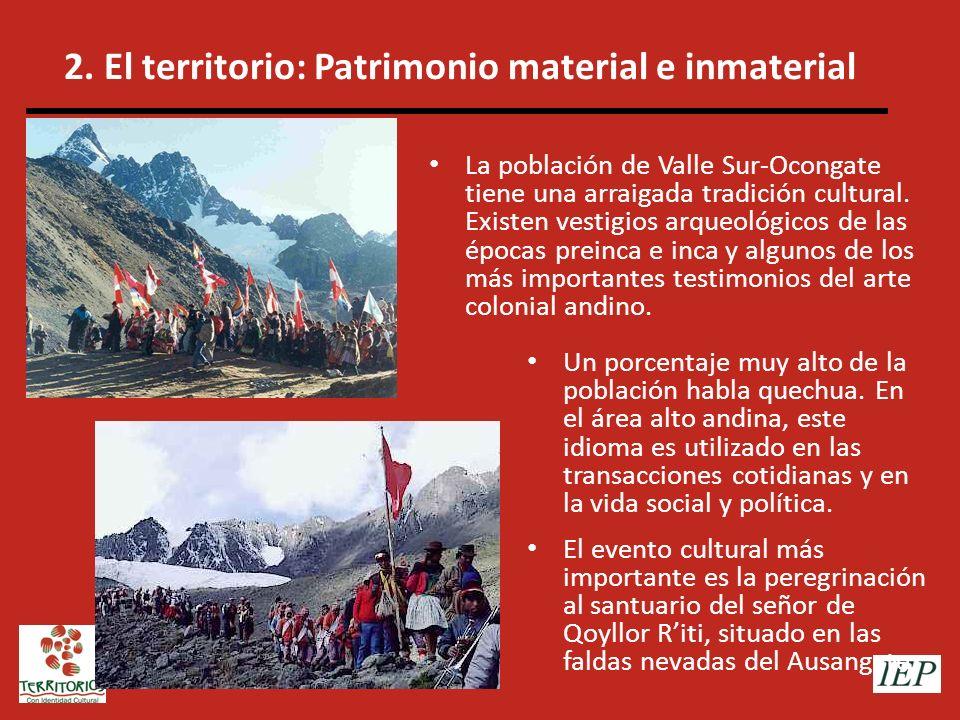 2. El territorio: Patrimonio material e inmaterial Un porcentaje muy alto de la población habla quechua. En el área alto andina, este idioma es utiliz