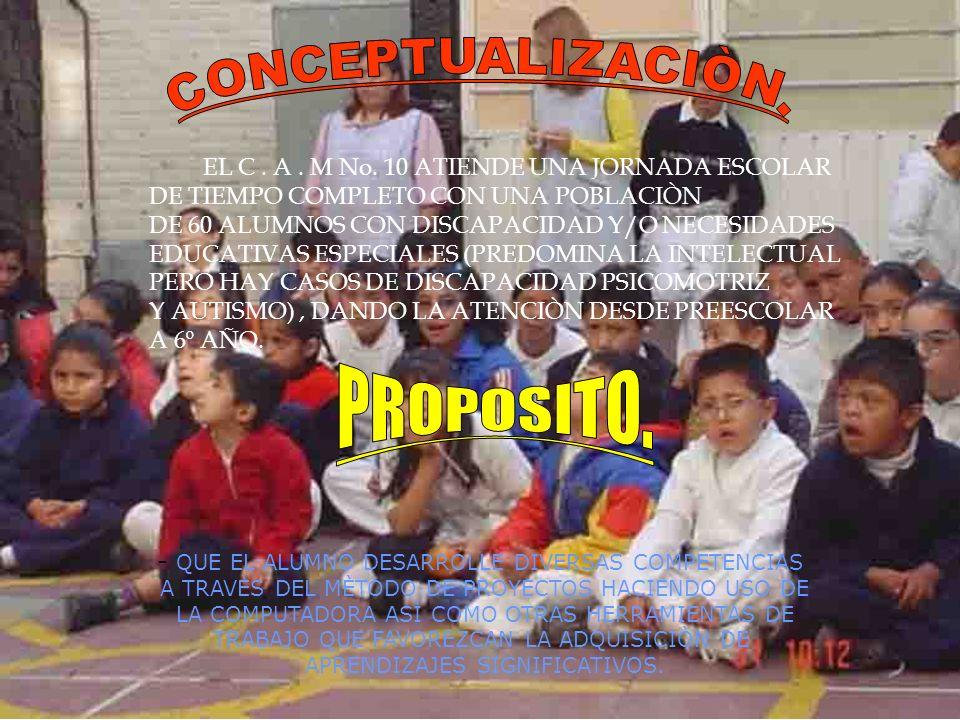 EL C. A. M No. 10 ATIENDE UNA JORNADA ESCOLAR DE TIEMPO COMPLETO CON UNA POBLACIÒN DE 60 ALUMNOS CON DISCAPACIDAD Y/O NECESIDADES EDUCATIVAS ESPECIALE