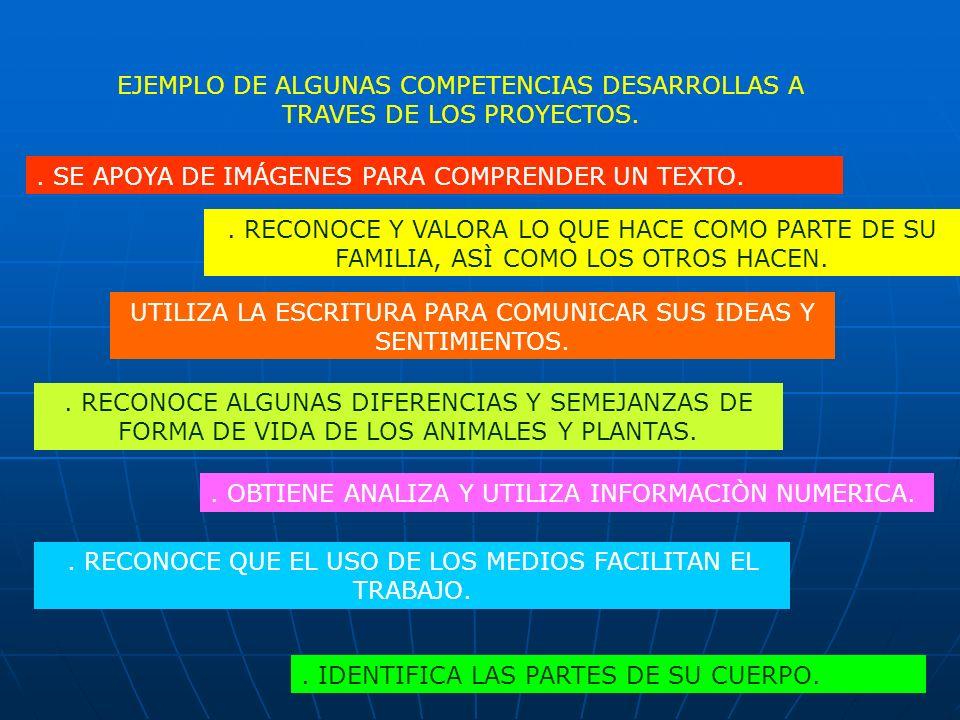 EJEMPLO DE ALGUNAS COMPETENCIAS DESARROLLAS A TRAVES DE LOS PROYECTOS.. SE APOYA DE IMÁGENES PARA COMPRENDER UN TEXTO.. RECONOCE Y VALORA LO QUE HACE