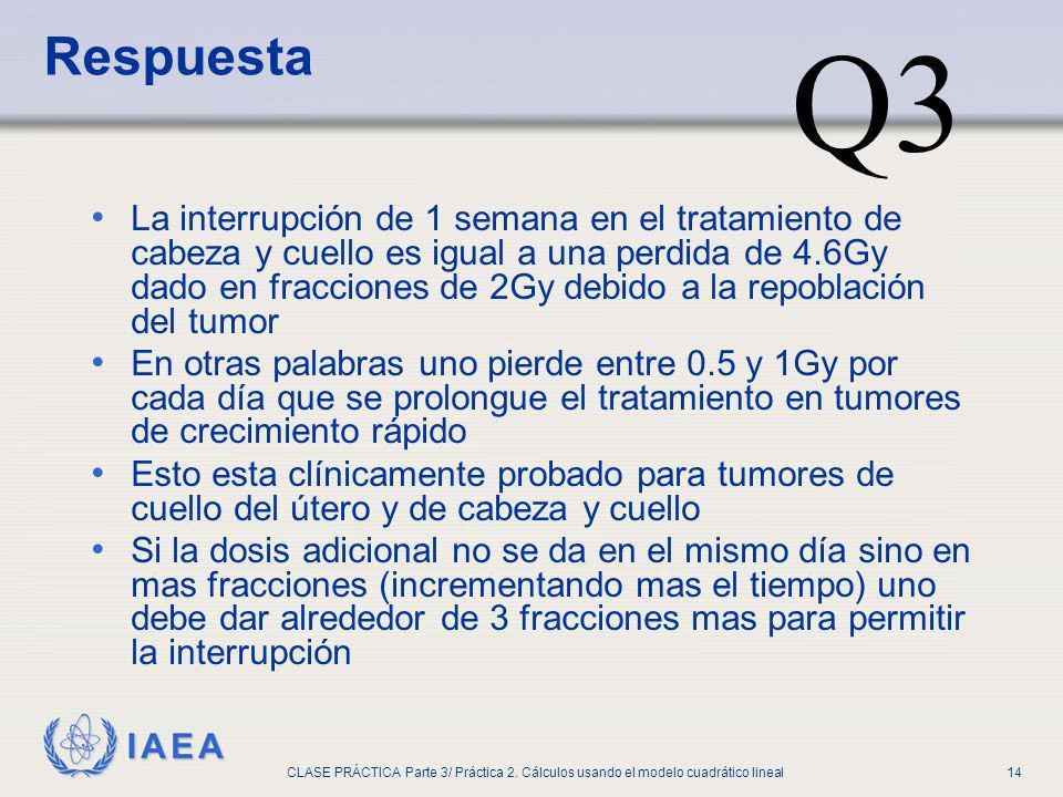 IAEA CLASE PRÁCTICA Parte 3/ Práctica 2. Cálculos usando el modelo cuadrático lineal14 La interrupción de 1 semana en el tratamiento de cabeza y cuell