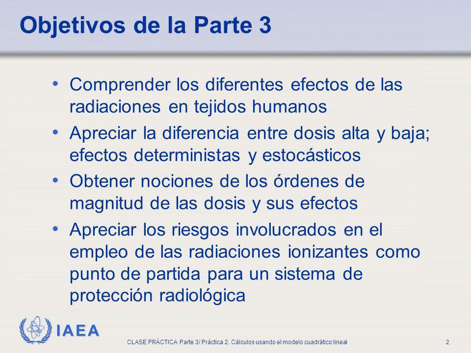 IAEA CLASE PRÁCTICA Parte 3/ Práctica 2. Cálculos usando el modelo cuadrático lineal2 Comprender los diferentes efectos de las radiaciones en tejidos