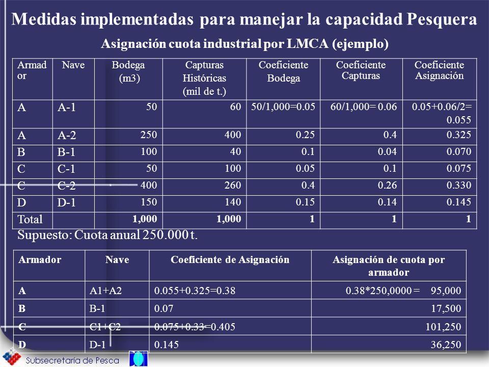 Medidas implementadas para manejar la capacidad Pesquera Asignación cuota industrial por LMCA (ejemplo) Supuesto: Cuota anual 250.000 t. Armad or Nave
