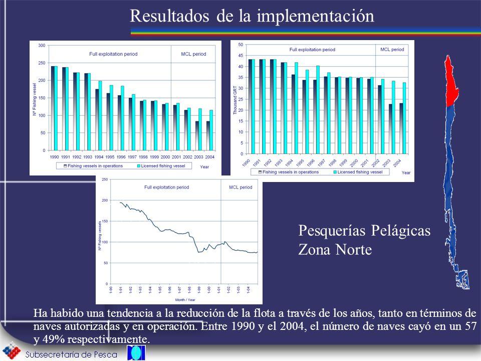 Resultados de la implementación Ha habido una tendencia a la reducción de la flota a través de los años, tanto en términos de naves autorizadas y en o