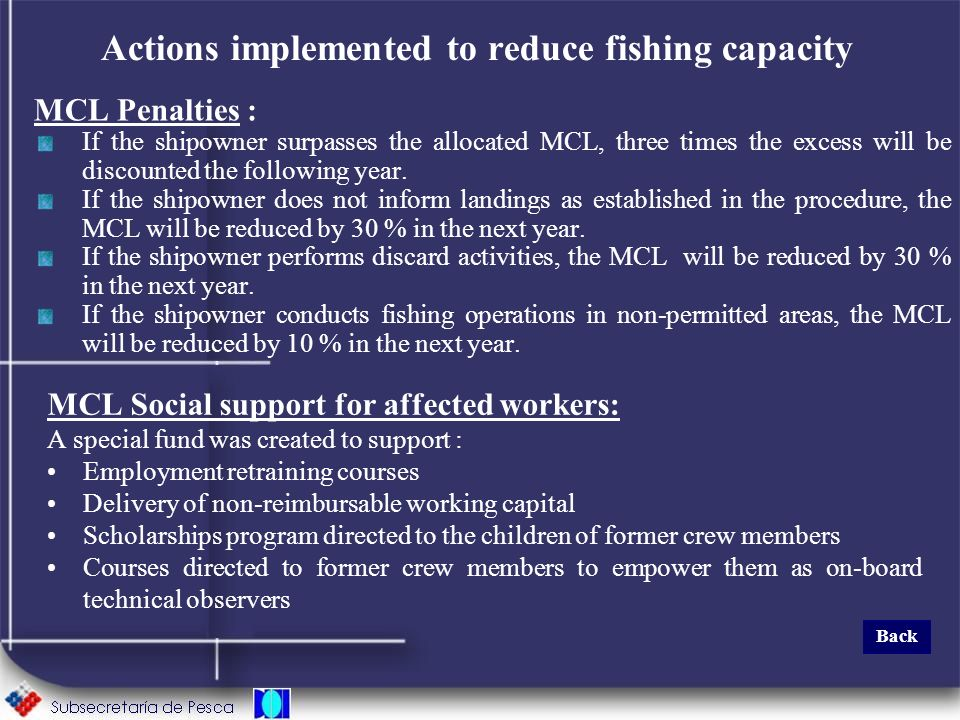 Actions implemented to reduce fishing capacity MCL Penalties : If the shipowner surpasses the allocated MCL, three times the excess will be discounted