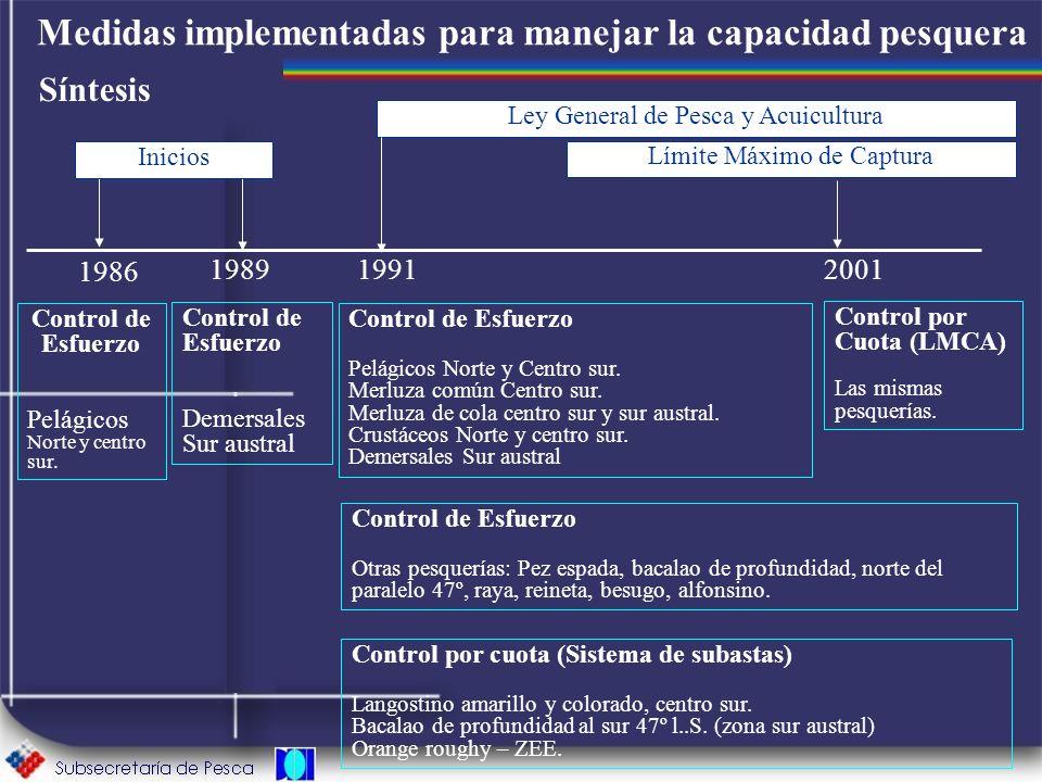Medidas implementadas para manejar la capacidad pesquera Síntesis 1986 Control de Esfuerzo Pelágicos Norte y centro sur. 1989 Control de Esfuerzo Deme