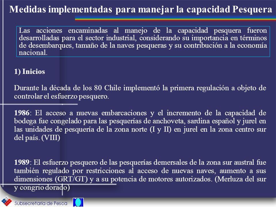 Medidas implementadas para manejar la capacidad Pesquera Las acciones encaminadas al manejo de la capacidad pesquera fueron desarrolladas para el sect