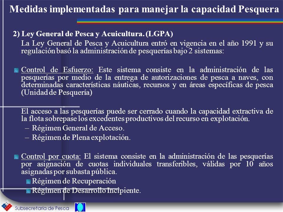 Medidas implementadas para manejar la capacidad Pesquera 2) Ley General de Pesca y Acuicultura. (LGPA) La Ley General de Pesca y Acuicultura entró en
