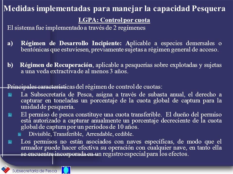 Medidas implementadas para manejar la capacidad Pesquera LGPA: Control por cuota El sistema fue implementado a través de 2 regímenes a)Régimen de Desa